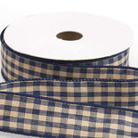 Navy Blue Gingham Check Wired Ribbon