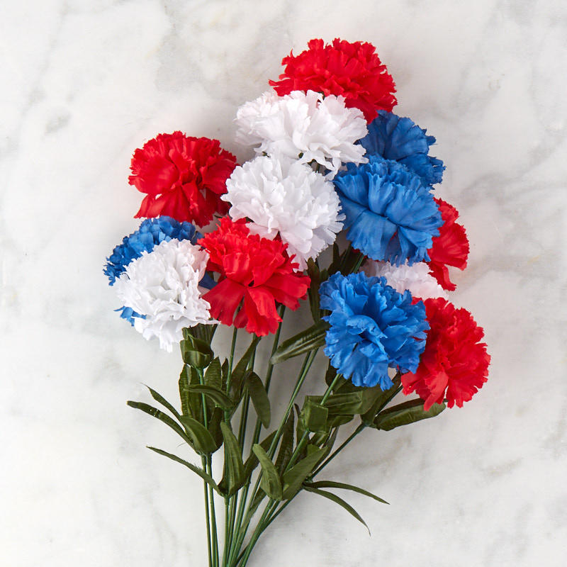 Red, White and Blue Artificial Carnation Bush  Bushes and Bouquets  Floral Supplies  Craft