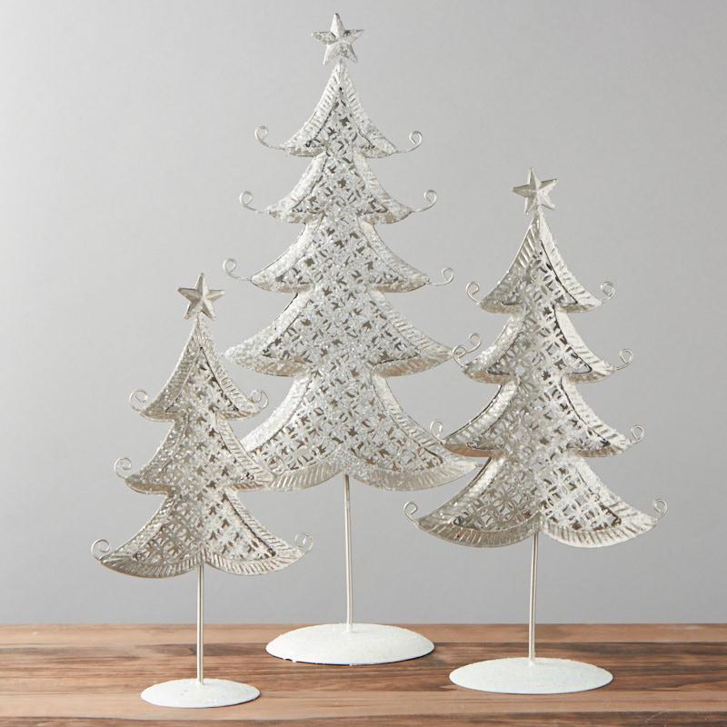 Frosty Winter Tabletop Christmas Tree Set