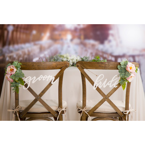 White Bride And Groom Wedding Chair Signs Chair Decorations