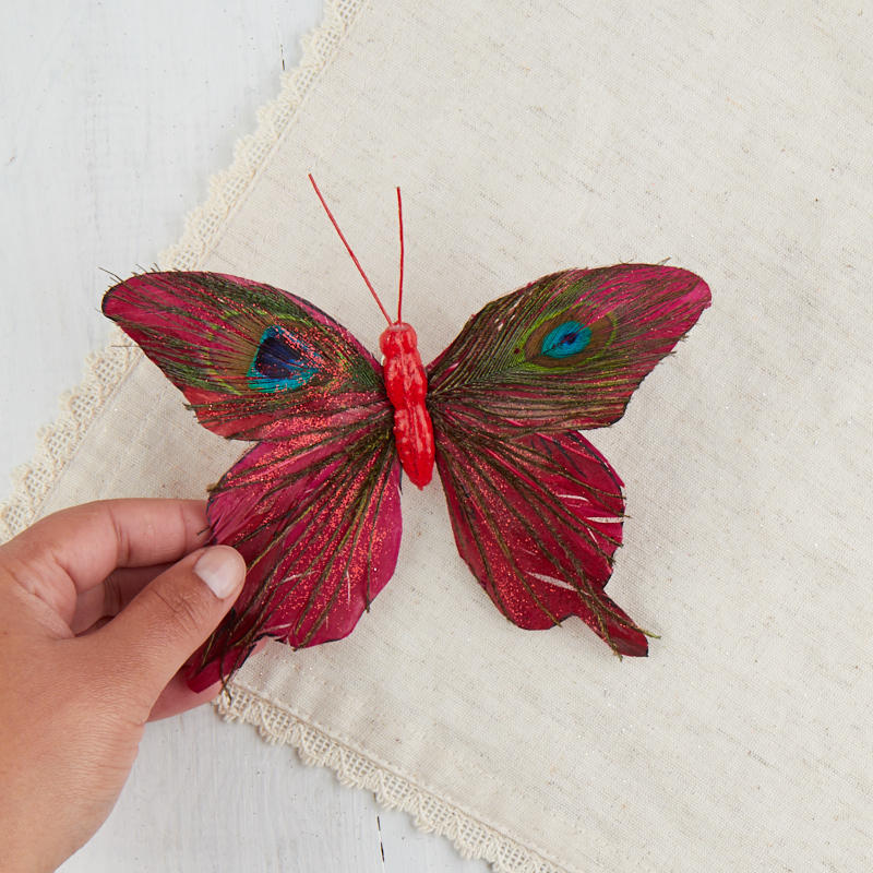 Red peacock feather artificial butterfly birds for Synthetic feathers for crafts