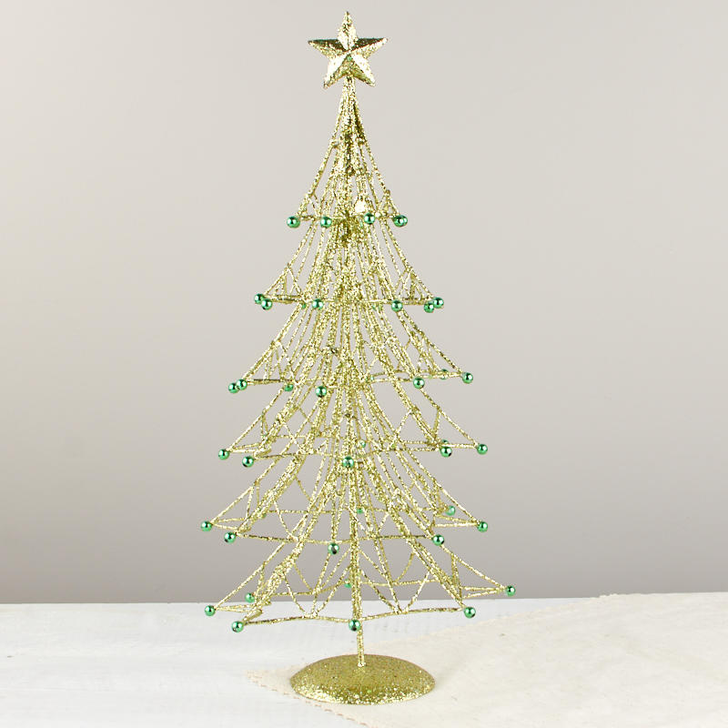 Wire Christmas Tree.Green Glittered Wire Christmas Tree