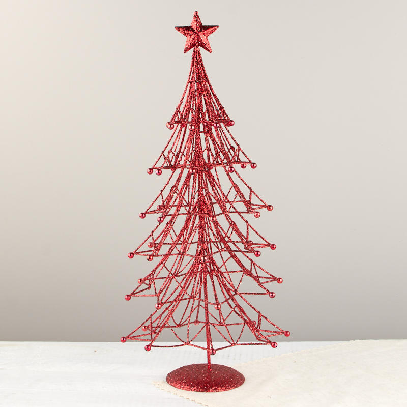 red glittered wire christmas tree table decor. Black Bedroom Furniture Sets. Home Design Ideas