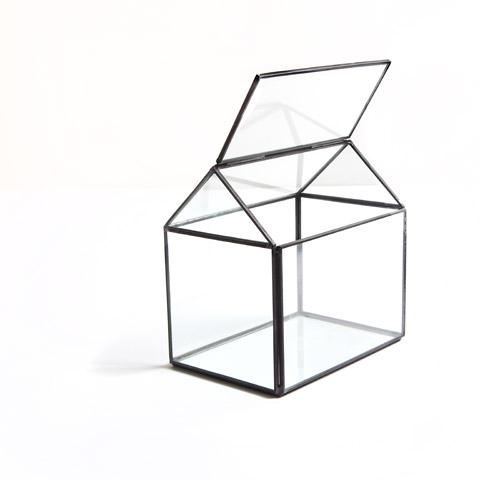 Geometric House Glass Terrarium Table Decor Home Decor