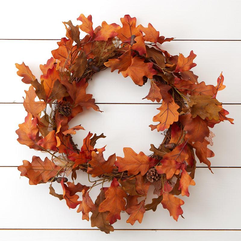 autumn artificial oak leaf wreath wreaths floral supplies