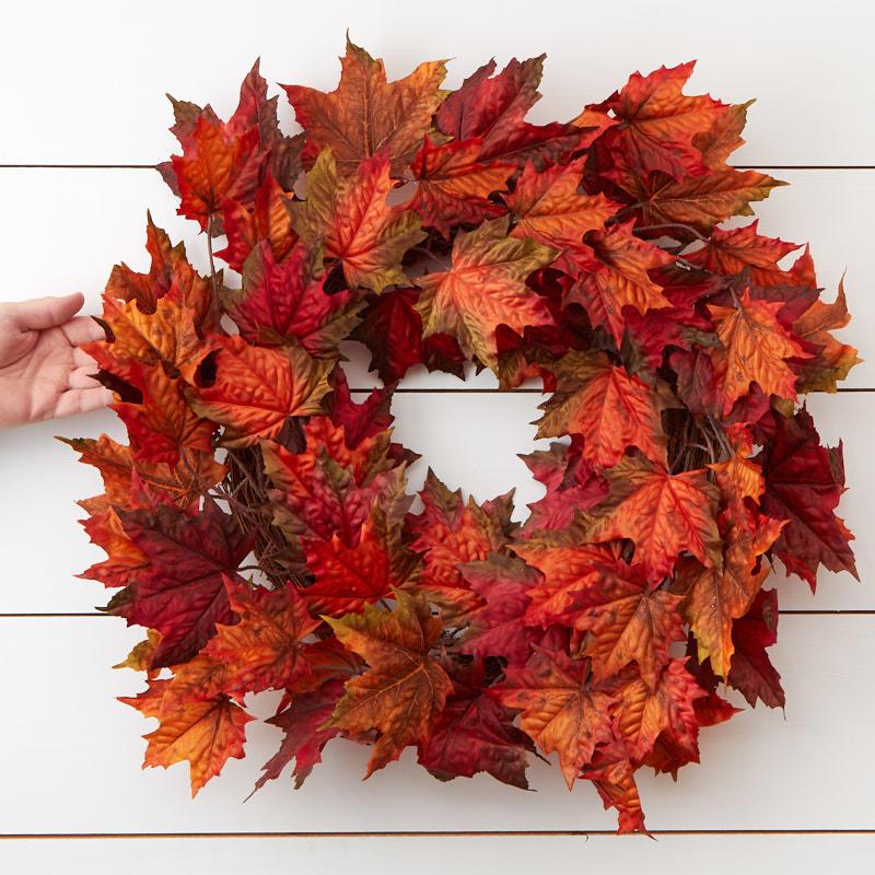 Autumn Artificial Maple Leaf Garland Wreaths Floral