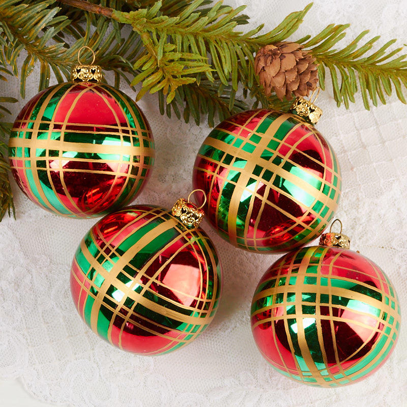 item gb14 complete your holiday displays with these plaid christmas ball ornaments - Plaid Christmas Ornaments