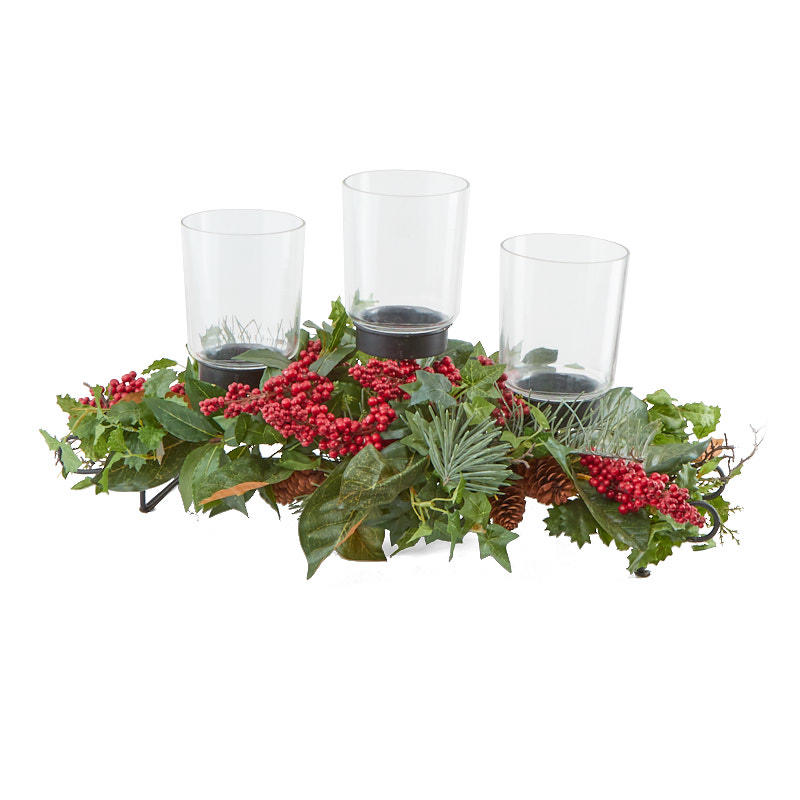 Wintergreen three tier candle holder candles and