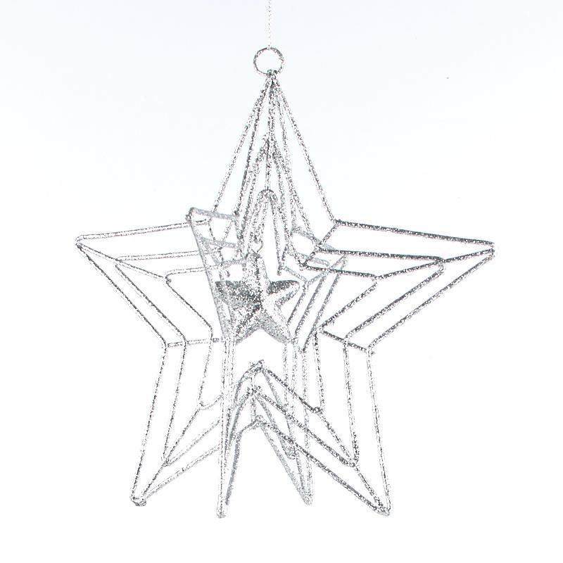 silver dimensional wire star ornament