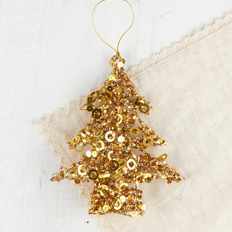 Gold Sequined Christmas Tree Ornament