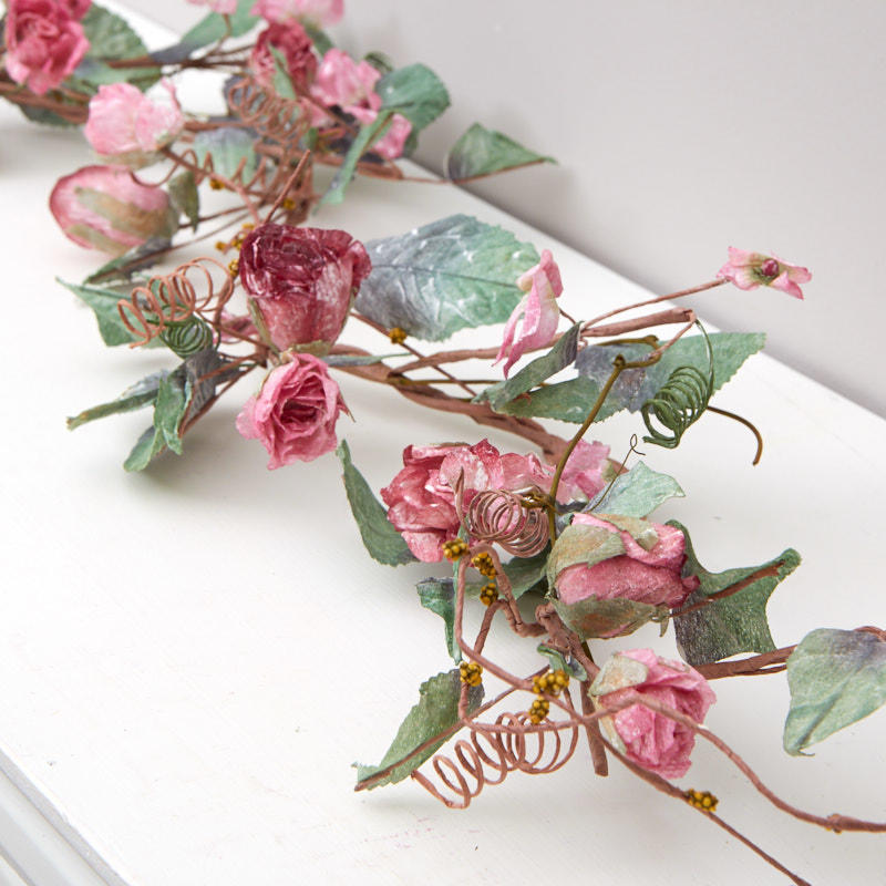 Artificial dried rose garland garlands floral supplies for Dried flowers craft supplies