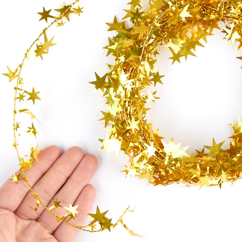 Gold Star Tinsel Garland Christmas Garlands Christmas