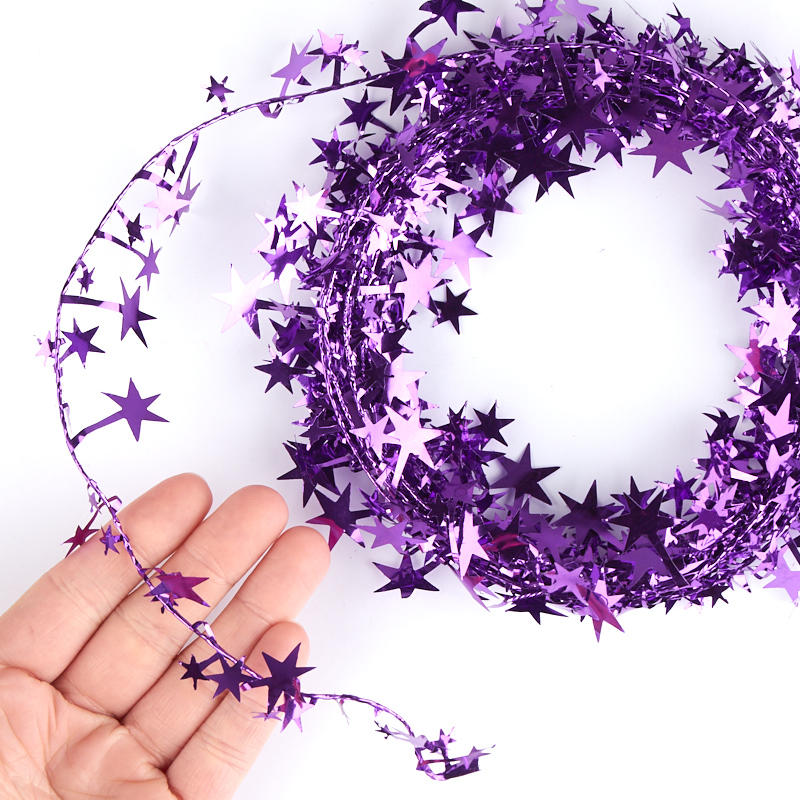 Purple star tinsel garland christmas garlands