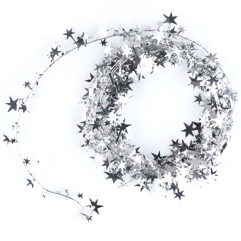 Silver star tinsel garland christmas garlands