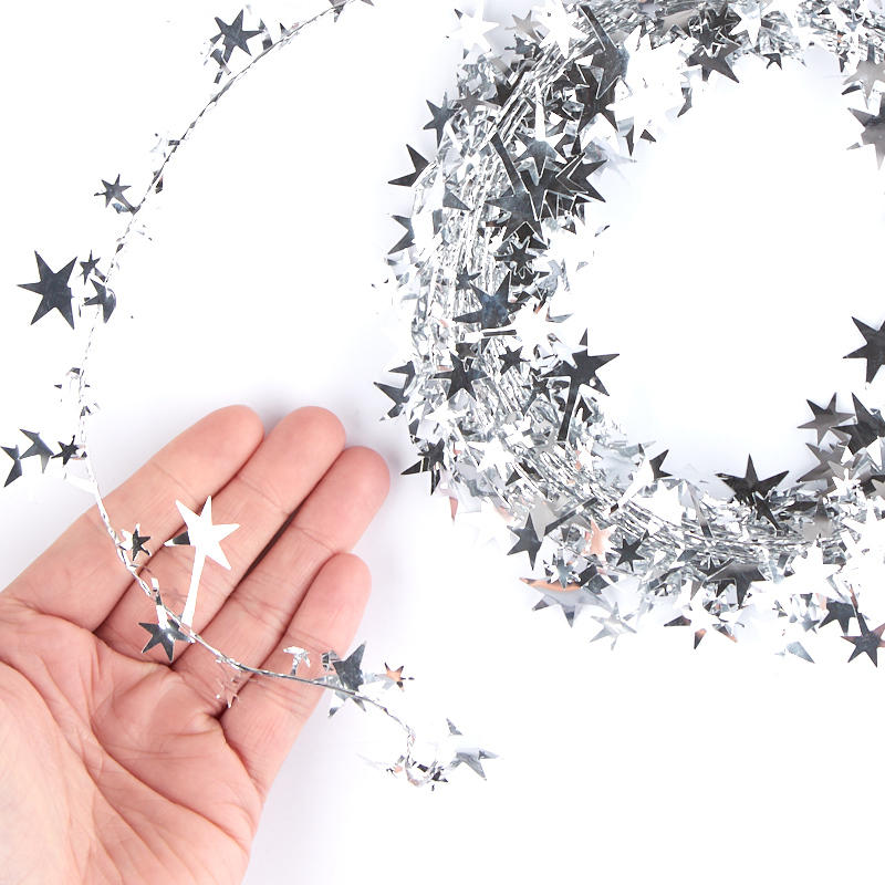Silver star tinsel garland new items