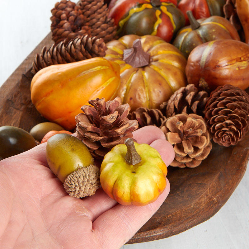 Artificial Pumpkin Pinecone And Acorn Filler Vase And