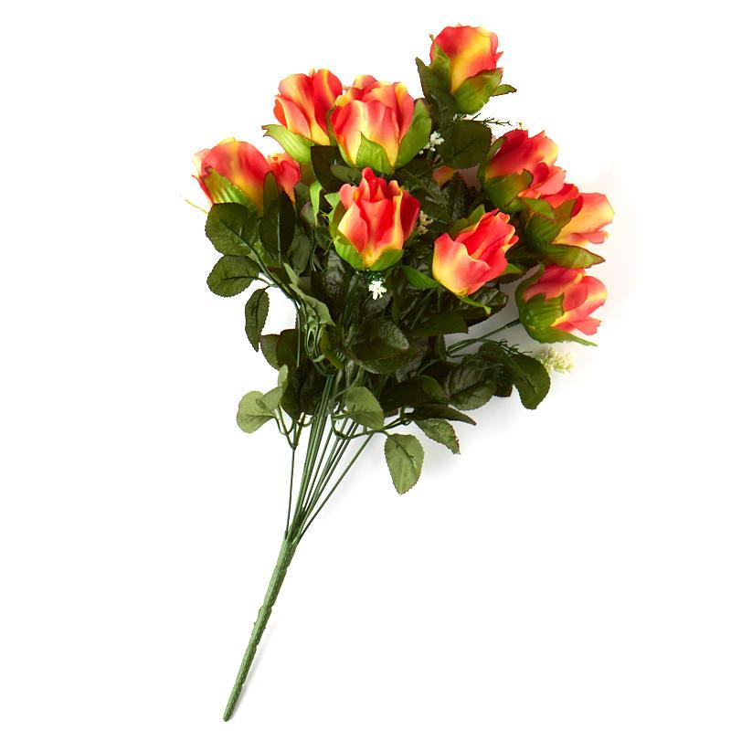 Orange Artificial Rose Bush Bushes Bouquets Floral