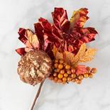 Glitzy Artificial Pumpkin and Maple Leaf Spray