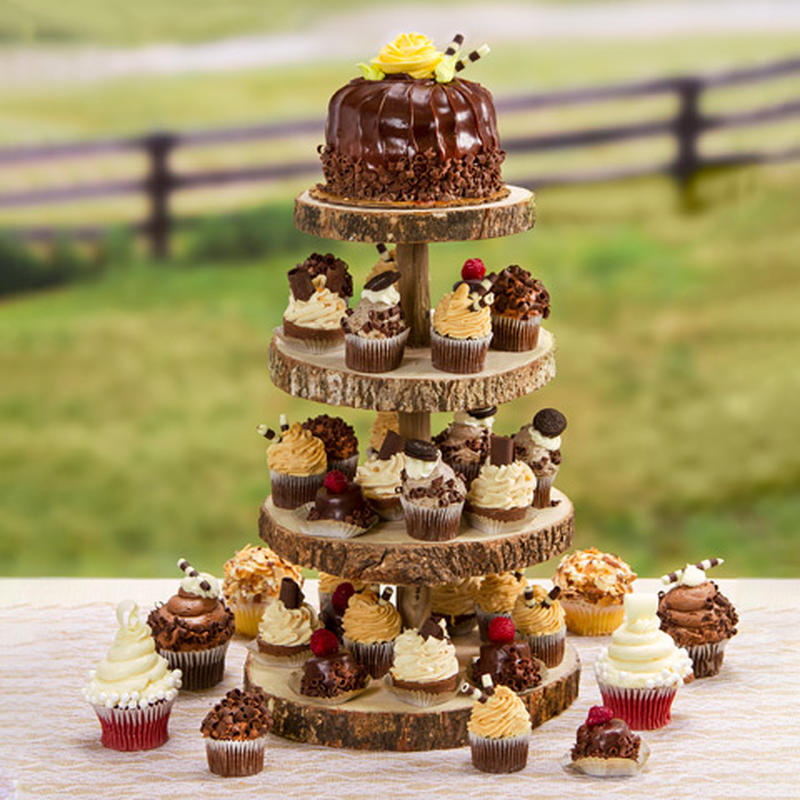 4-Tier Rustic Wood Slice Cupcake Stand - Table Decor - Home Decor