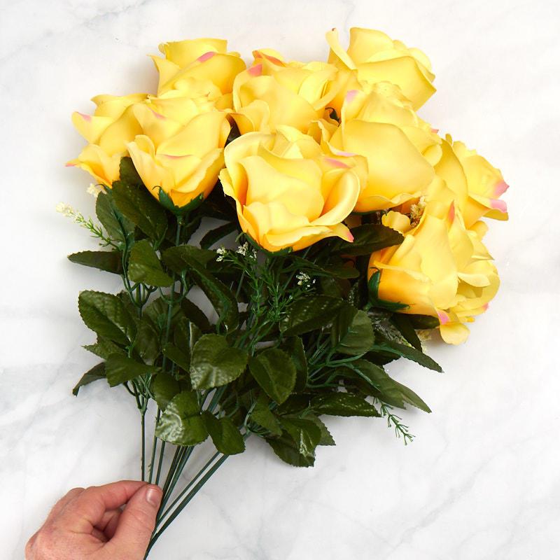 Yellow Artificial Rose Bush Bushes Bouquets Floral