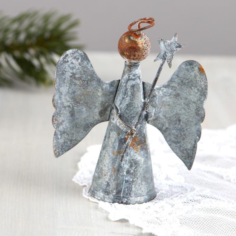Angel Christmas Tree Topper.Rustic Tin Angel Christmas Tree Topper