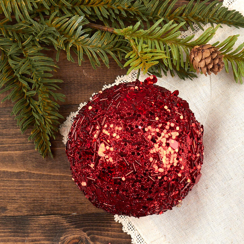 Red Christmas Ball Ornaments.Red Sequined Christmas Ball Ornament