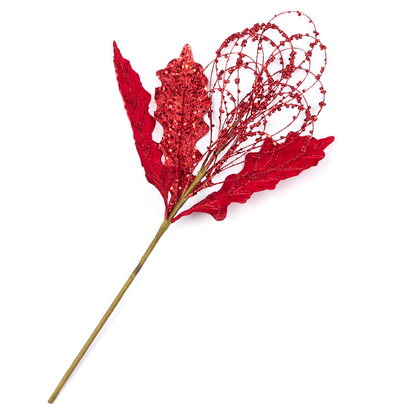 Stem And Loop Example: Red Artificial Berry And Leaf Loop Spray