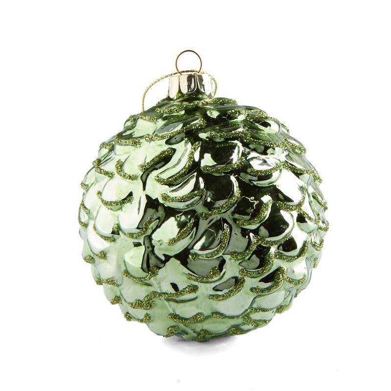 Baptism Ornament Round Glass: Dark Green Round Glass Ornament