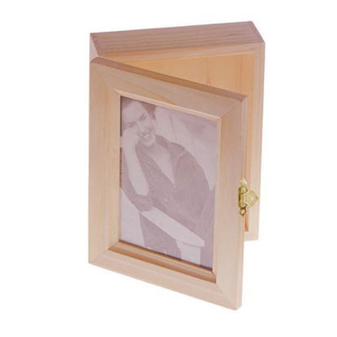 Unfinished Wood Memory Box With Photo Frame Lid Baskets Buckets