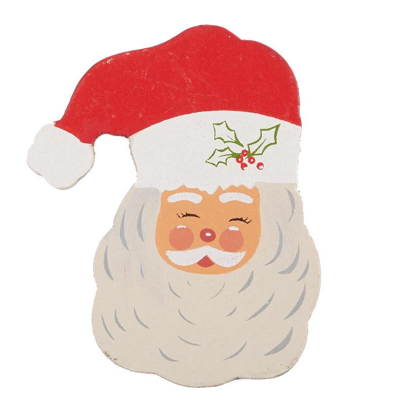 Painted Wood Santa Face Cutout - Holiday Wood Cutouts ...