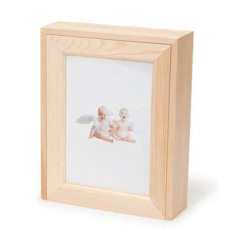 Unfinished Wood Memory Box With Photo Frame Lid - recvd - *