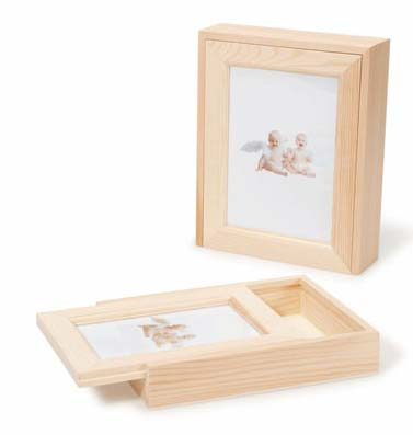 Unfinished Wood Memory Box With Photo Frame Lid Table Decor Home