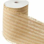 Ivory and Natural Striped Fringe Burlap Ribbon