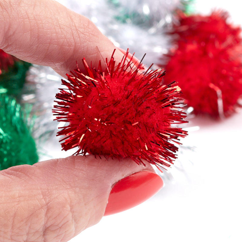 Red white and green tinsel pom poms recvd for Tinsel craft pom poms