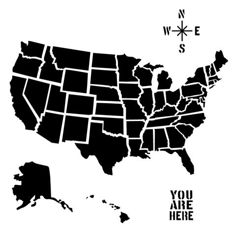 U.S. Map Stencil   Stencils   Painting Supplies   Craft Supplies