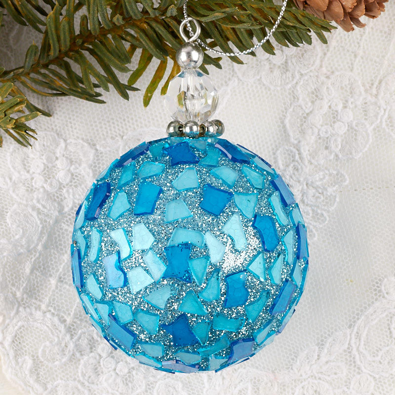 Click Here For A Larger View - Blue Mosaic Tile Ball Ornament - Christmas Ornaments - Christmas And