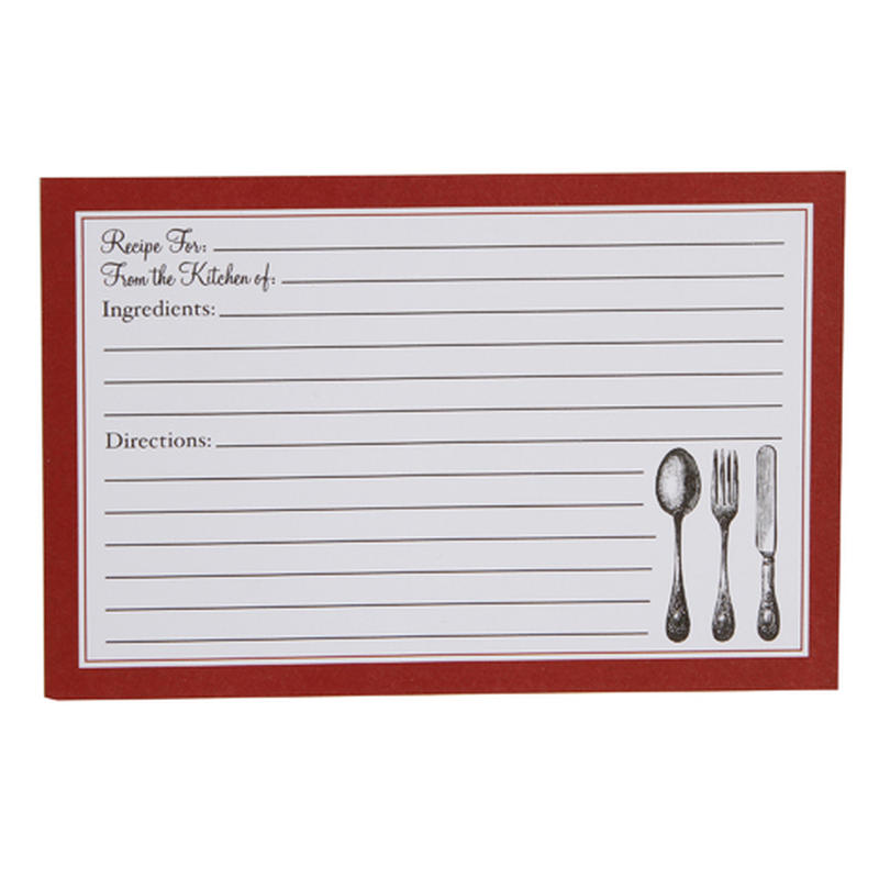 recipe blank cards recipes card cutlery printable consumercrafts kitchen template 1219 sheets michaels lines larger inside box