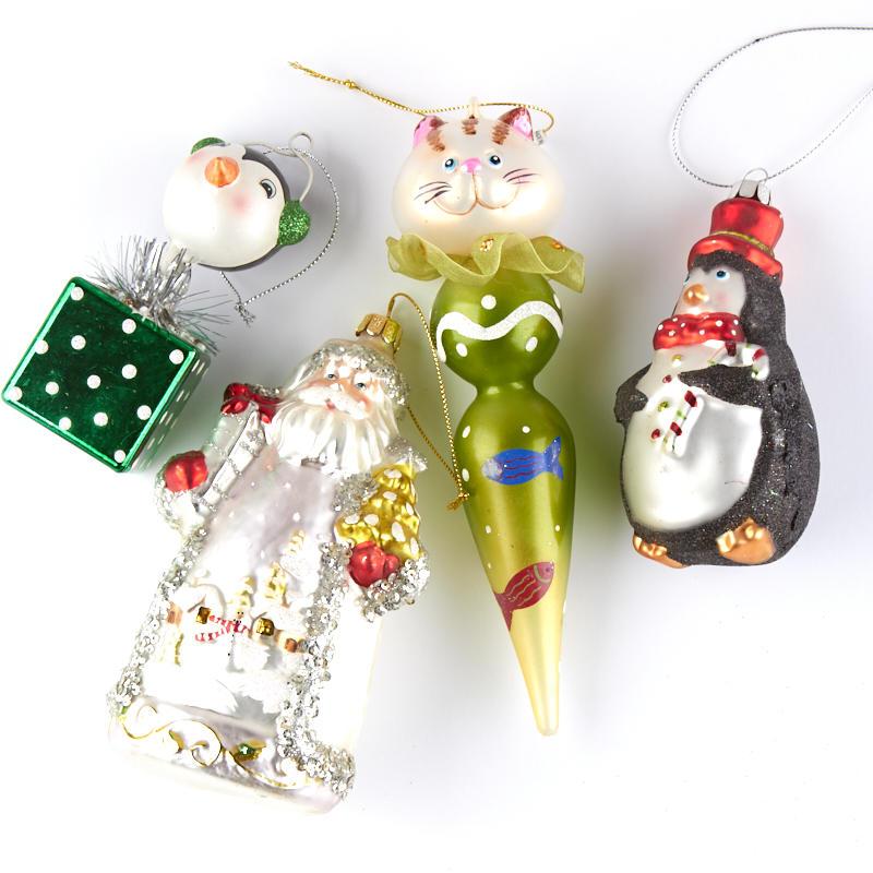 Religious Christmas Ornament Assortment: Assorted Glass Christmas Ornaments Set