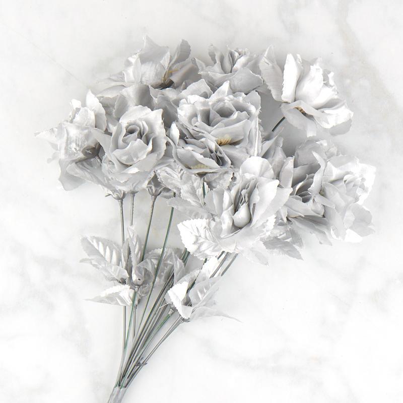 Metallic Silver Rose Bush Bushes Bouquets Floral