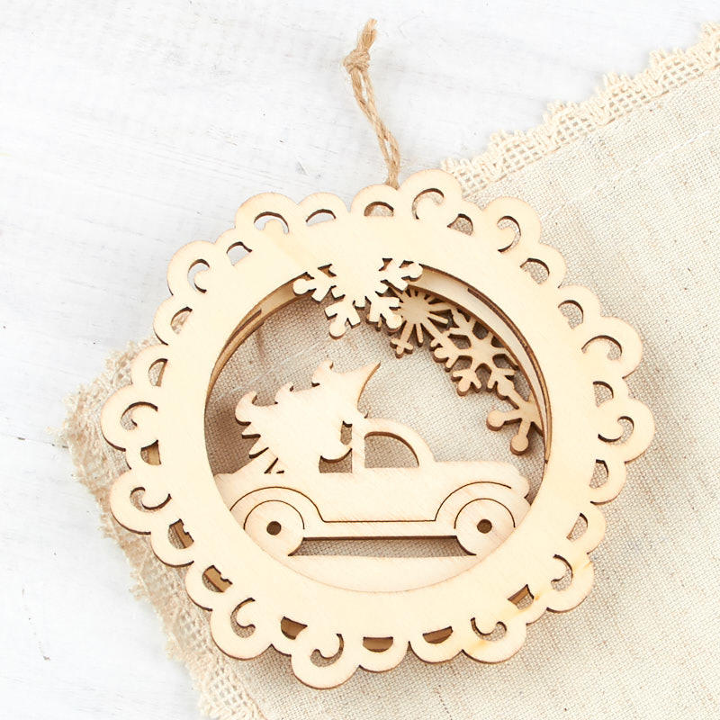Unfinished Wood Holiday Outing Ornament - Wood Cutouts ...