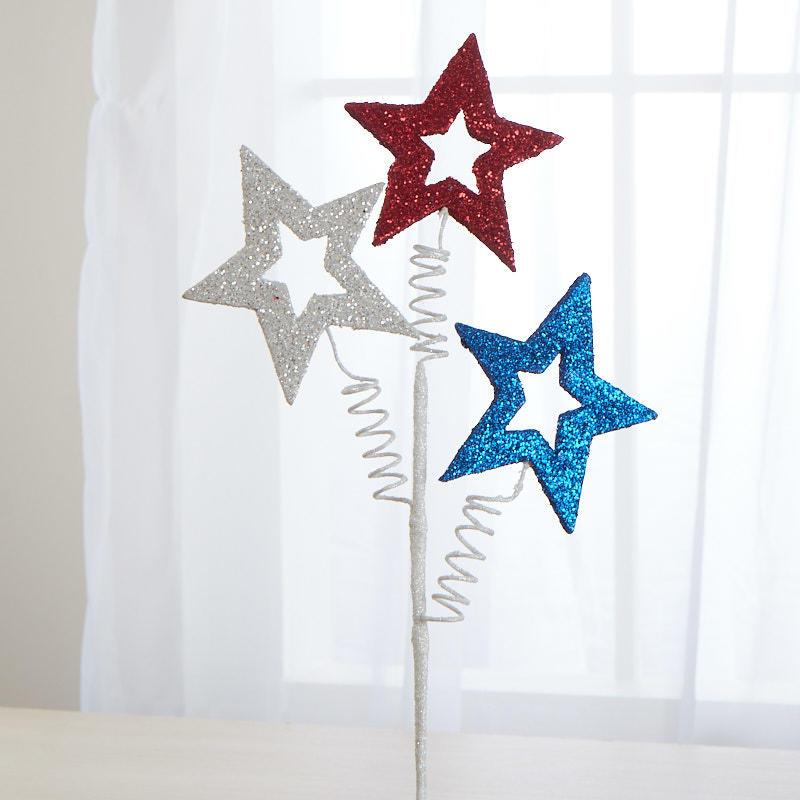 Factory Direct Craft Glittered Americana Star Spray