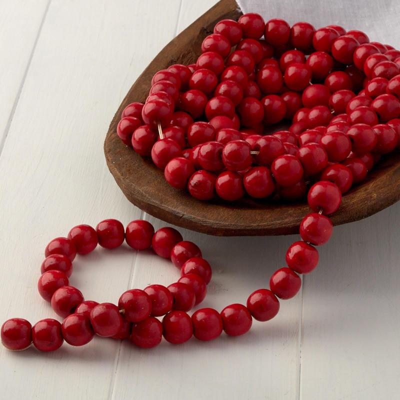Red Wooden Bead Garland - Christmas Garlands - Christmas ...
