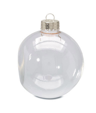 Clear Christmas Ornaments.Clear Glass Flat Sided Ball Ornaments
