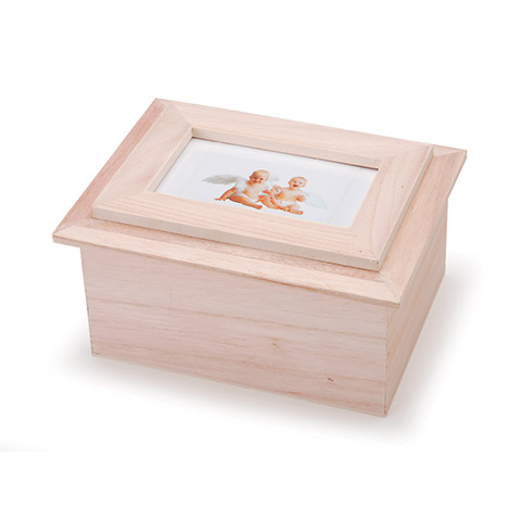 Unfinished Wood Memory Box With Photo Frame Lid Picture Frames