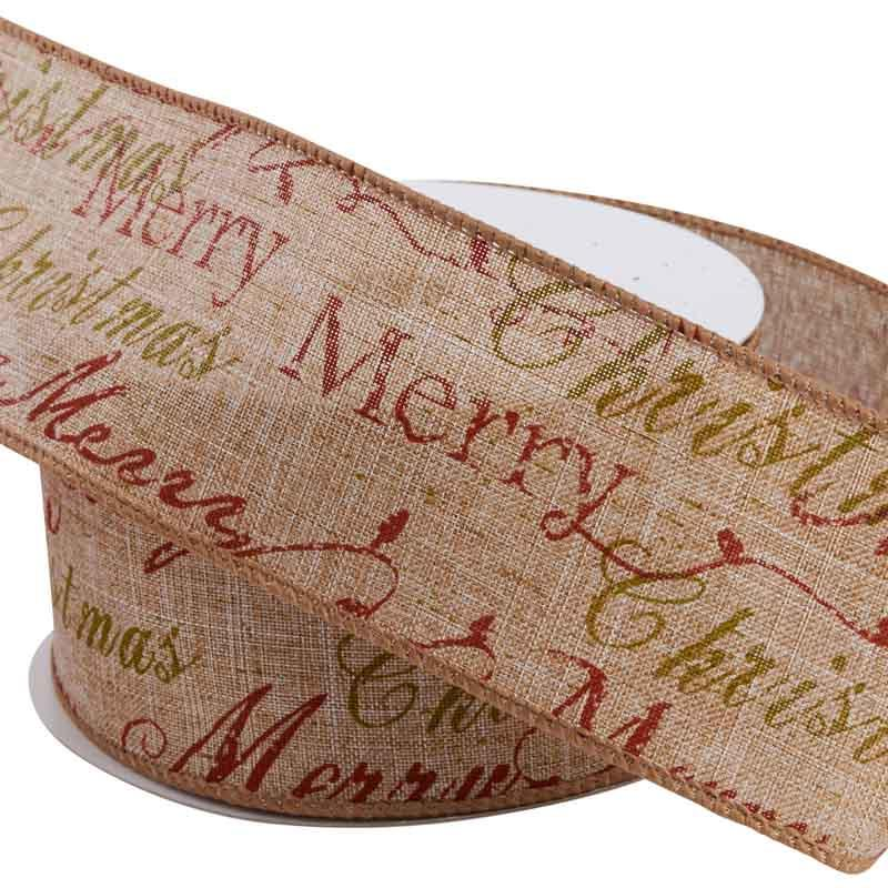 2 12 merry christmas wired ribbon