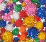 Assorted Bright Tinsel Craft Pom Poms