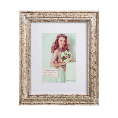 Silver Ornate Wooden Picture Frame With Matting Picture