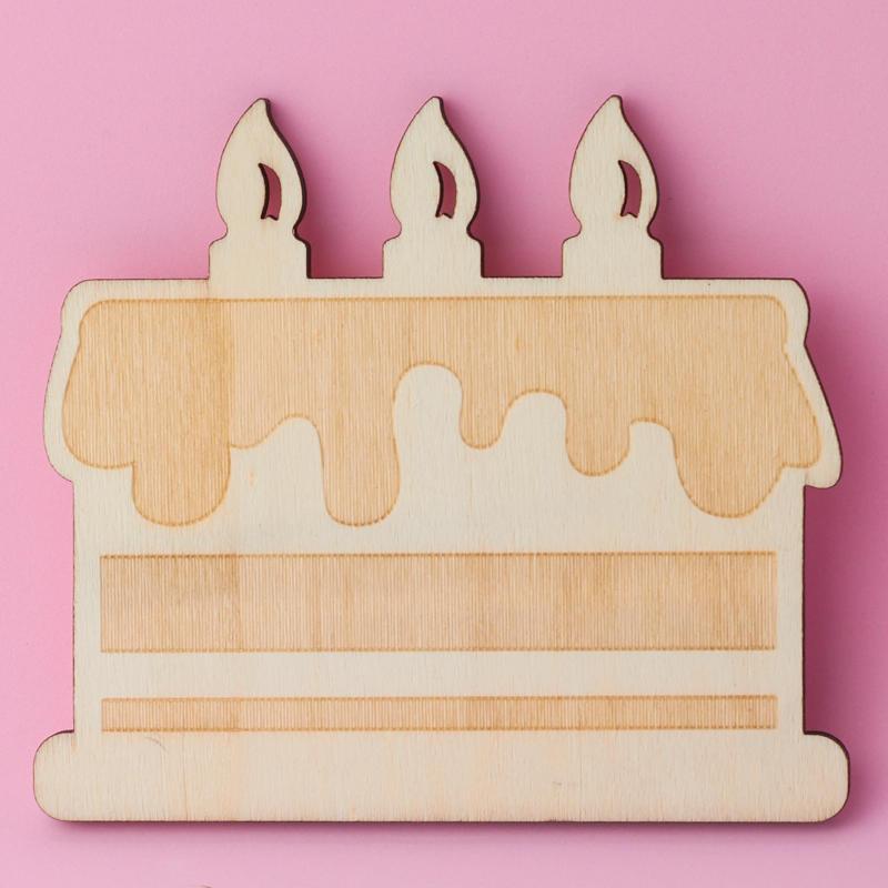 Unfinished Wood Birthday Cake Cutout