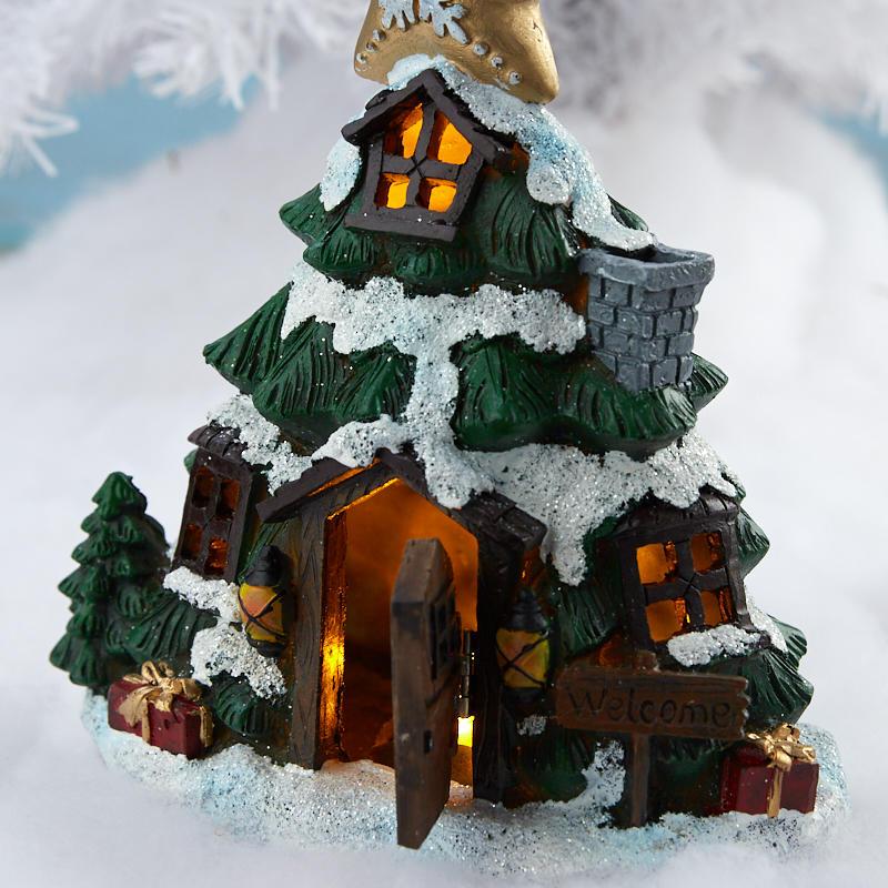 Miniature Fairy Garden Light-Up Christmas Tree House ...