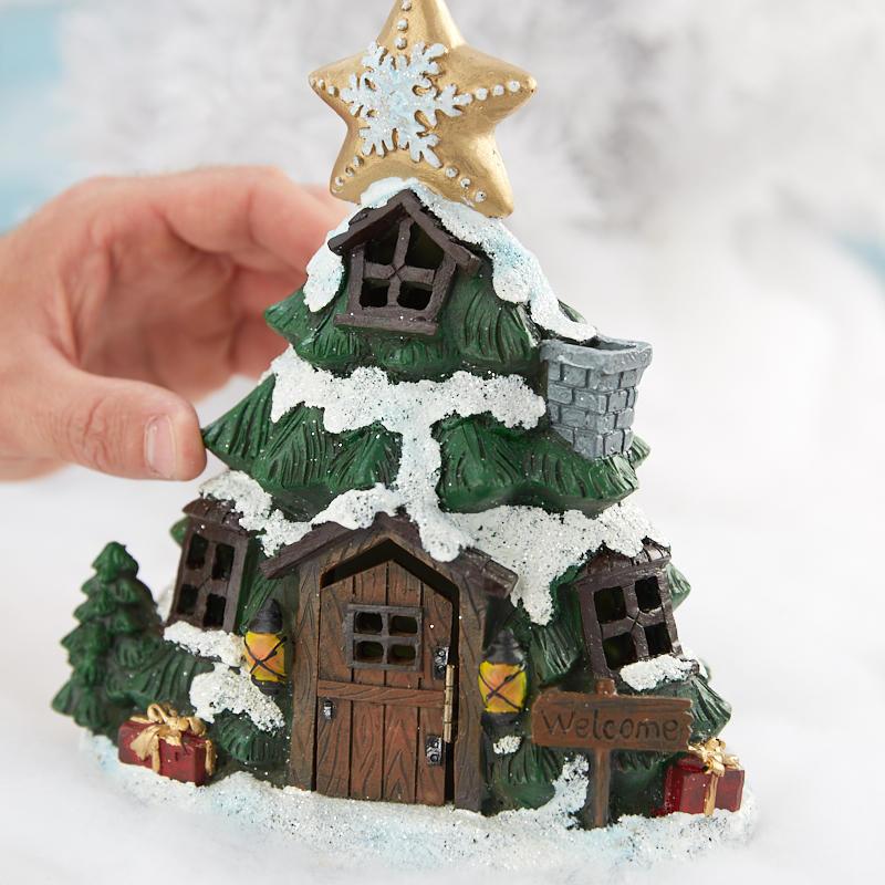 Christmas Tree In Garden: Miniature Fairy Garden Light-Up Christmas Tree House